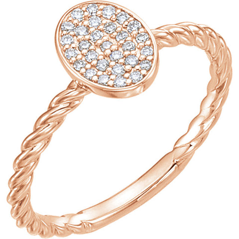 14k Rose Gold 1/6 CTW Diamond Rope Cluster Ring, Size 7