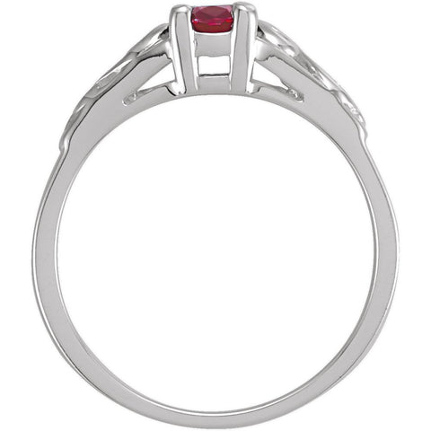 Sterling Silver January Imitation Birthstone Ring , Size 5