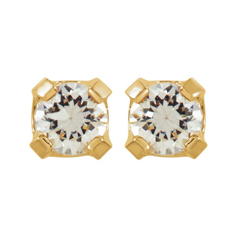14k Yellow Gold Cubic Zirconia Inverness Piercing Earrings