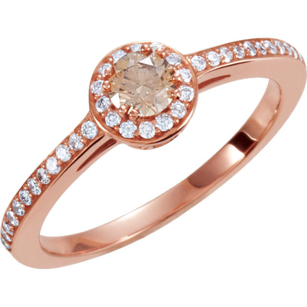 14k Rose Gold 3/8 CTW Diamond Engagement Ring, Size 6.75