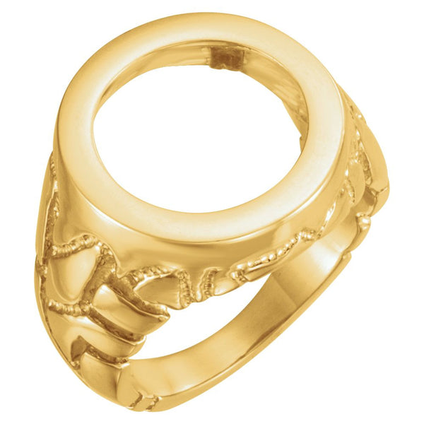 14k Yellow Gold Men's Nugget Coin Ring, Size 10