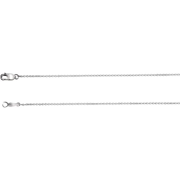 "18k White Gold 1mm Solid Cable 18"" Chain"