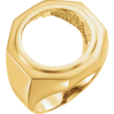 14k Yellow Gold Men's Panda Coin Ring Mounting, Size 6