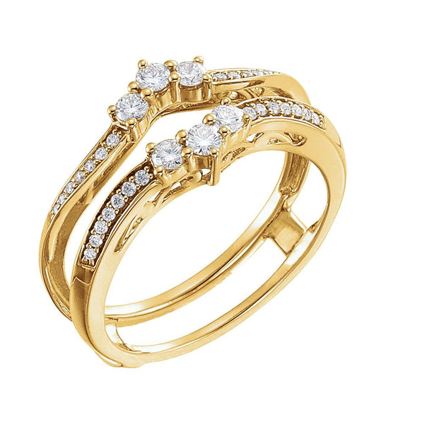 14k Yellow Gold 1/3 CTW Diamond Ring Guard , Size 7