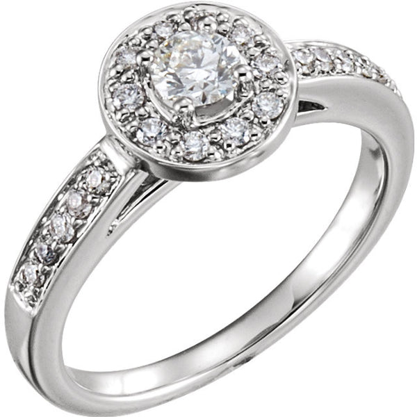 14k White Gold 1/2 CTW Diamond Halo-Style Engagement Ring , Size 7