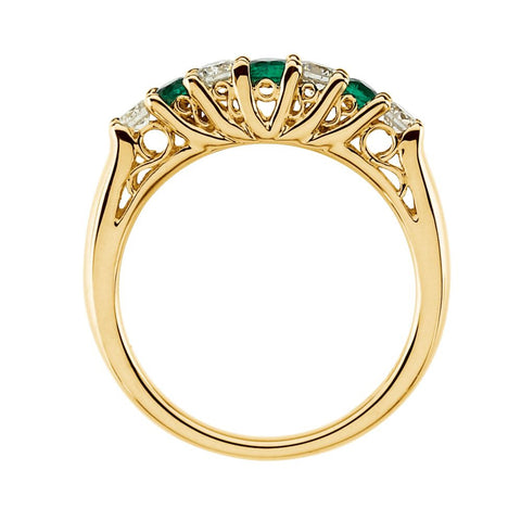 14k Yellow Gold Emerald & 1/3 CTW Diamond Anniversary Band, Size 7