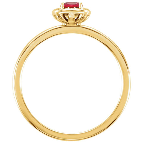 14k Yellow Gold Chatham® Created Ruby & .04 CTW Diamond Halo-Style Ring, Size 7