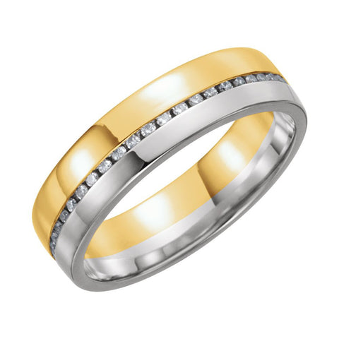 14k Yellow & White Gold 6mm 1/3 ctw. Diamond Comfort-Fit Band, Size 7