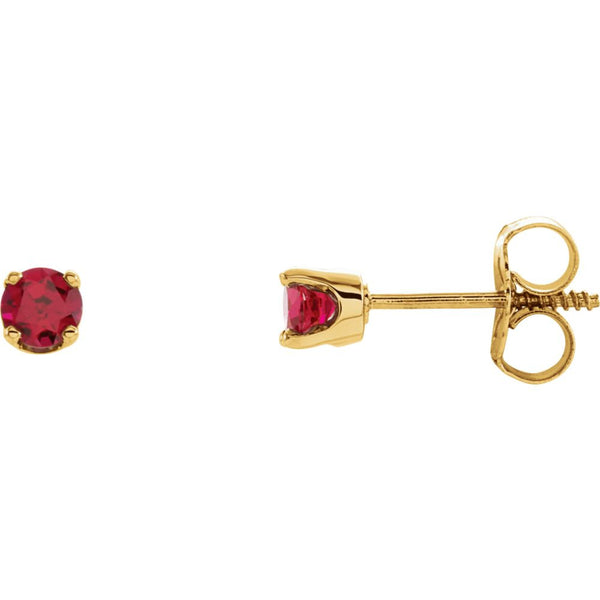 14k Yellow Gold Imitation Ruby Youth Earrings