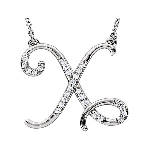 "Sterling Silver Letter ""X"" 1/8 CTW Diamond Initial 16"" Necklace"