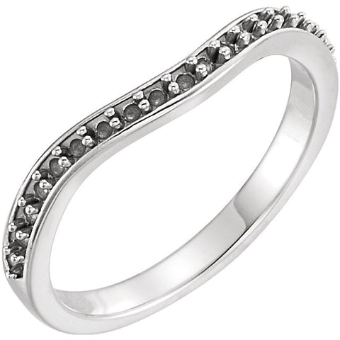 14k White Gold 1/4 CTW Diamond Curved Band, Size 7