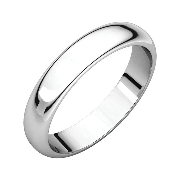 Sterling Silver 4mm Half Round Band, Size 8.5