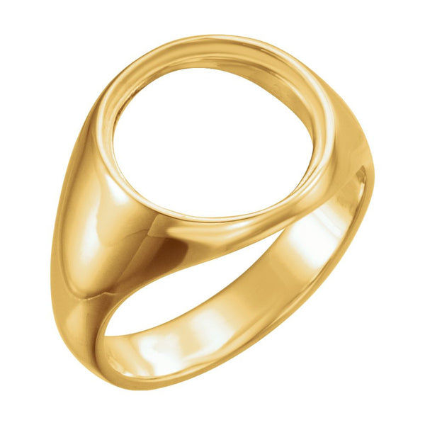 10k Yellow Gold 13.9mm Men's Coin Ring, Size 9.25