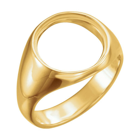10k Yellow Gold 13.9mm Men's Coin Ring, Size 6