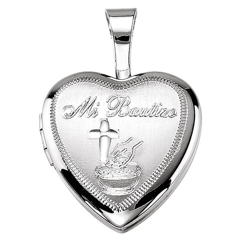 Bautizo Heart Locket in Sterling Silver