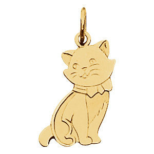 Elegant and Stylish 17.75X9.5 MM Cat Charm in 14K Yellow Gold, 100% Satisfaction Guaranteed.