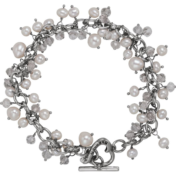 "Sterling Silver Inspirational Blessings Pearl & Cubic Zirconia Bracelet with ""Blessed"" Toggle"