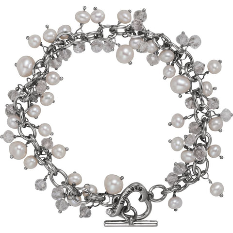 Blessed Bracelet with Stones in Sterling Silver ( 7.75-Inch )