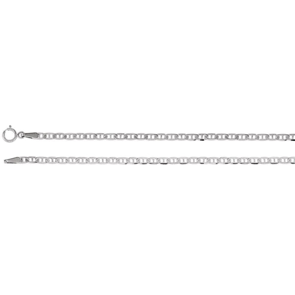 "14k White Gold 2.25mm Anchor 20"" Chain"