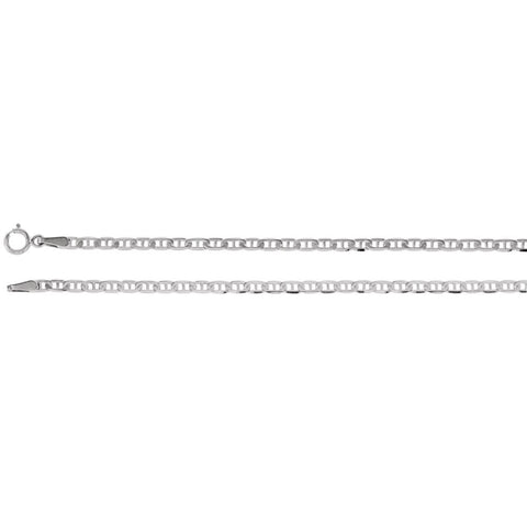 14K White Gold 2.25mm Anchor 18-Inch Chain