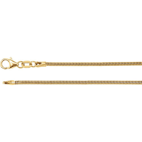 "14k Yellow Gold 1.5mm Solid Round Snake 7"" Chain"