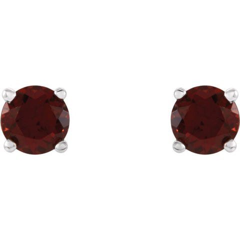 14k White Gold 4mm Round Mozambique Garnet Earrings