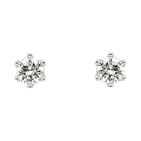 14k White Gold 1/3 CTW Diamond Friction Post Stud Earrings