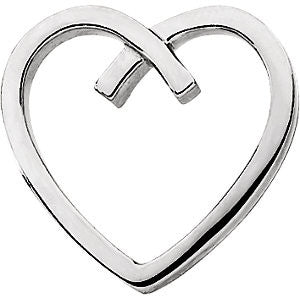 Gold Fashion Heart Pendant in 14k White Gold