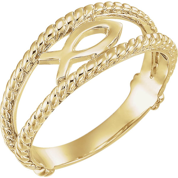 10k Yellow Gold Ichthus (Fish) Chastity Ring, Size 8