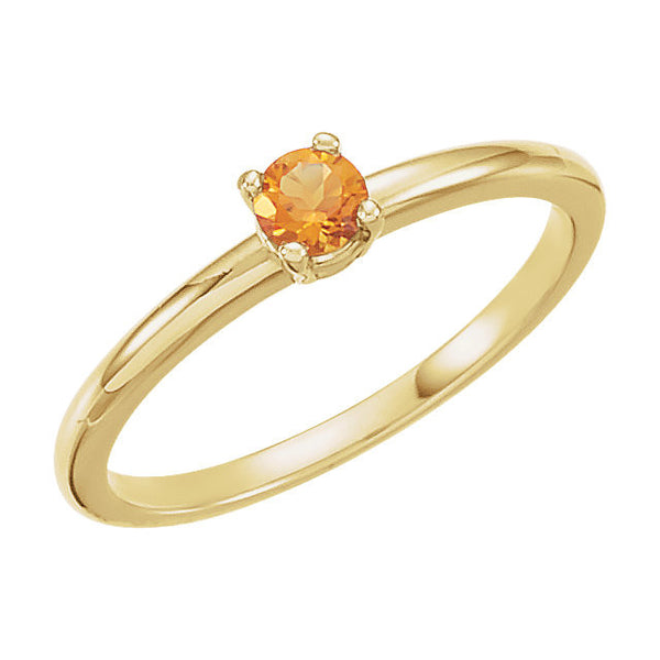 "14k Yellow Gold Imitation Citrine ""November"" Youth Birthstone Ring, Size 3"