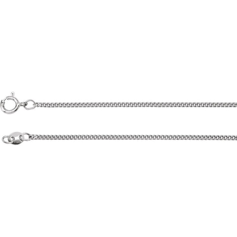 1.6 mm Solid, Curb Link, Flat Chain in Sterling Silver ( 24.00-Inch Carded )