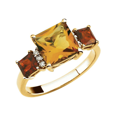 0.06 CTTW Genuine Citrine ,Genuine Madeira Citrine and Diamond Ring in 14k Yellow Gold ( Size 6 )