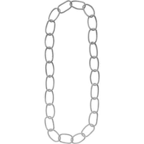 Sterling Silver Mesh Link Necklace ( 35.00-Inch )