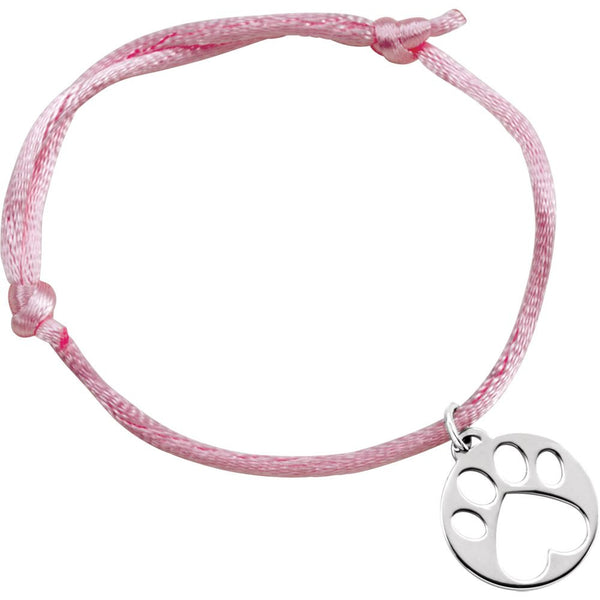 14k White Gold Pink Satin Cord Adjustable Bracelet with Paw Charm