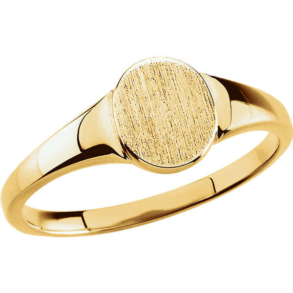 10k Yellow Gold 7x6mm Solid Oval Signet Ring, Size 6
