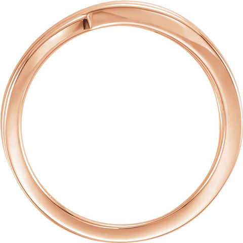14k Rose Gold Criss-Cross Ring, Size 7