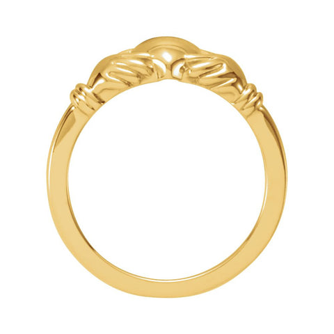 14k Yellow Gold Youth Claddagh Ring, Size 5