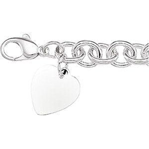 Sterling Silver 7.5x9.75mm Cable Bracelet With Heart