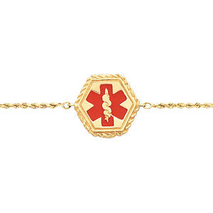 Medical ID Bracelet with Red Enamel in 14k Yellow Gold ( 7 Inch Rope )