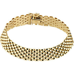 "14k Yellow Gold 10.25mm Panther 7"" Bracelet"