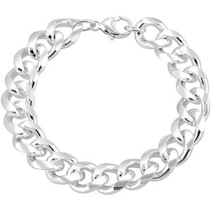 "Sterling Silver 12.3mm Curb 9"" Chain"
