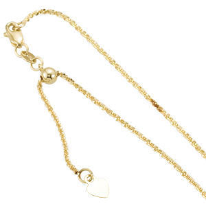 14k Yellow Gold 1.4mm Adjustable Fashion Chain