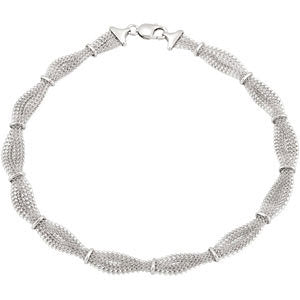 "Sterling Silver 10.94mm Braided Mesh 7.5"" Chain"