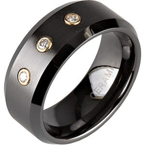 Ceramic Couture Beveled Wedding Band Ring with 14K Yellow Gold Bezel Diamonds (Size 12.5 )