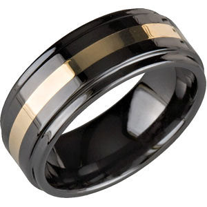 Ceramic Couture Ridged Wedding Band Ring with 14K Yellow Gold Inlay (Size 12 )