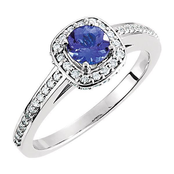 14k White Gold Tanzanite & 1/4 CTW Diamond Engagement Ring, Size 7