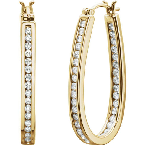 14k Yellow Gold 1 CTW Diamond Inside/Outside Hoop Earrings