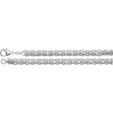 6 mm Solid Byzantine Chain in Sterling Silver ( 18 Inch )