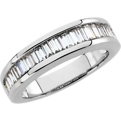 14k White Gold 1 CTW Diamond Baguette Anniversary Band Size 6
