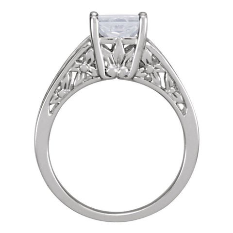 14k White Gold 6mm Round Forever Classic™ Moissanite Solitaire Engagement Ring, Size 6